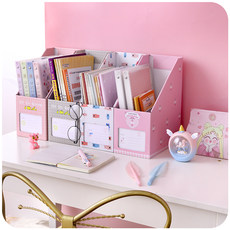 Paper desk, girl's storage box, book folder, bookshelf, office desk, stationery, student's lovely bookend, sorting box