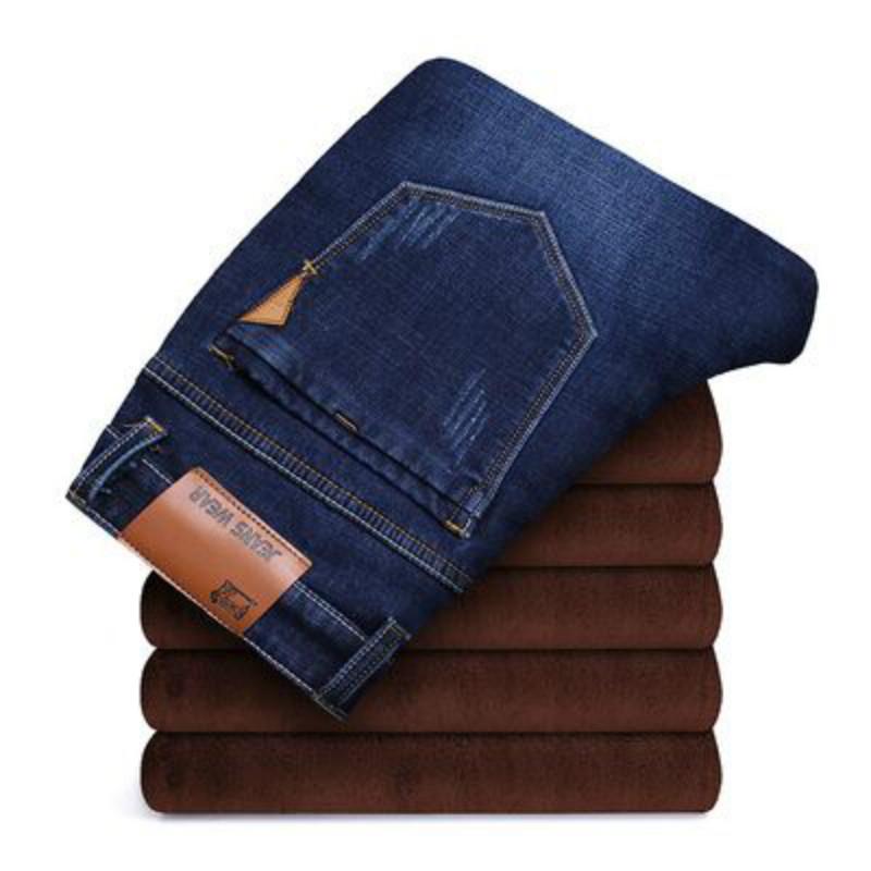 冬季新款宽松直筒加绒加厚牛仔裤