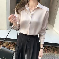2021 spring new Korean style slim slim long-sleeved commuter shirt women's popular shirt tops spring boutique dresses
