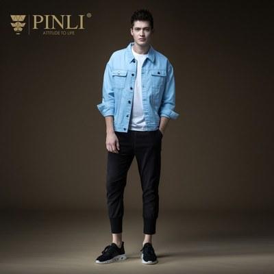 PINLI品立秋季新款男装翻领纯棉休闲牛仔夹克外套B191304059