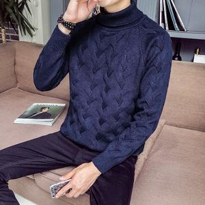 男士半高领毛衣加厚韩版冬季毛衣保暖针织衫个性线衣打底衫外套潮