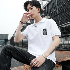2019夏季新款男士短袖t恤襯衫領半袖polo衫潮流丅恤男裝潮牌衣服