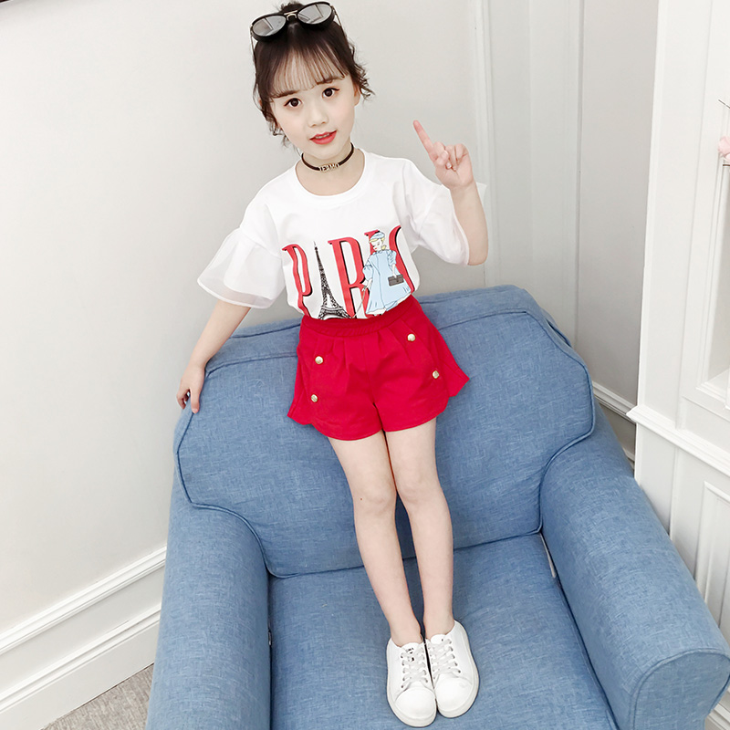 Girls summer two-piece suit 2019 new large children's fashion summer tide clothes children's Western shorts suit tide
