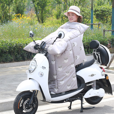 Electric motorcycle windshield is warm in autumn and winter, thickened, plus velvet, sunscreen, waterproof battery car windshield