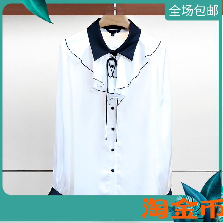2019夏季新款蕾丝艾薇国内代购雪纺衬衫上衣女装L0560006