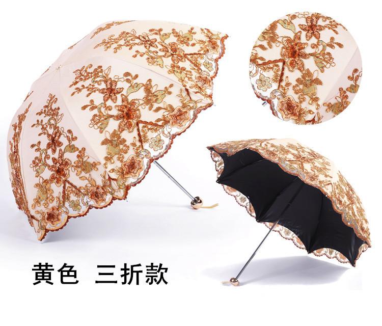 韩版遮阳伞女防晒抗蕾丝刺绣三折绣花遮阳黑胶公主晴雨两用详细照片