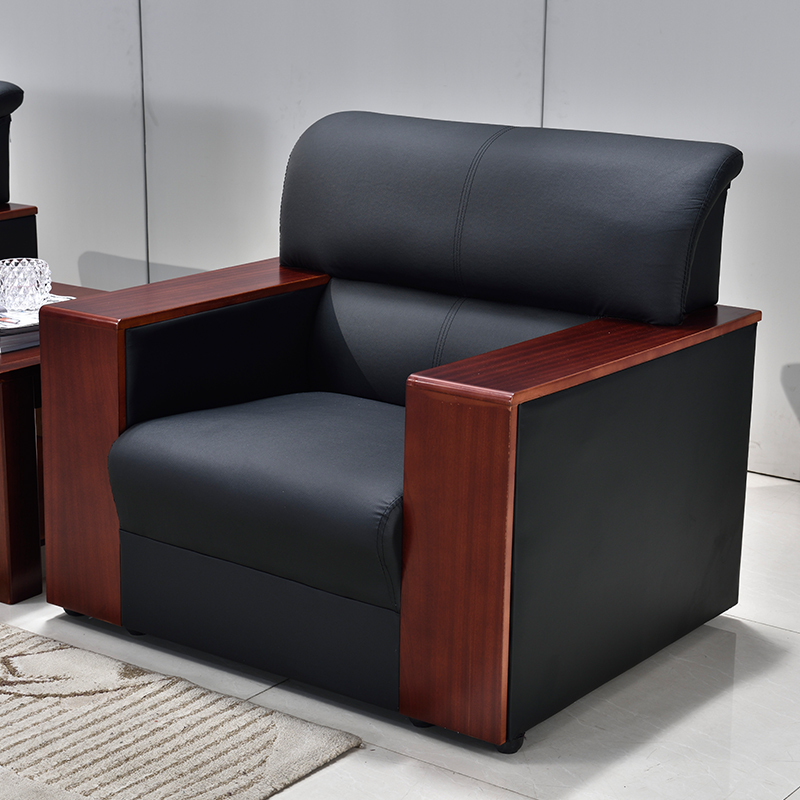 Leather office sofa simple modern office sofa coffee table ...