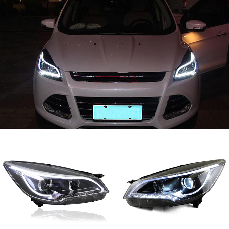 for ford escape 2013 15 front headlight assembly white. Black Bedroom Furniture Sets. Home Design Ideas