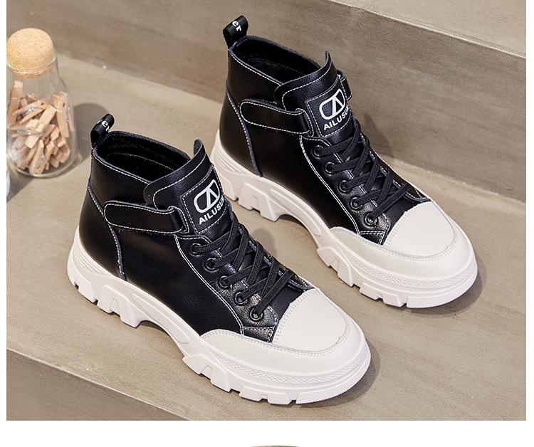 真皮网红鞋子女潮鞋短靴女新款四季百搭靴子马丁靴高筒小白鞋详细照片