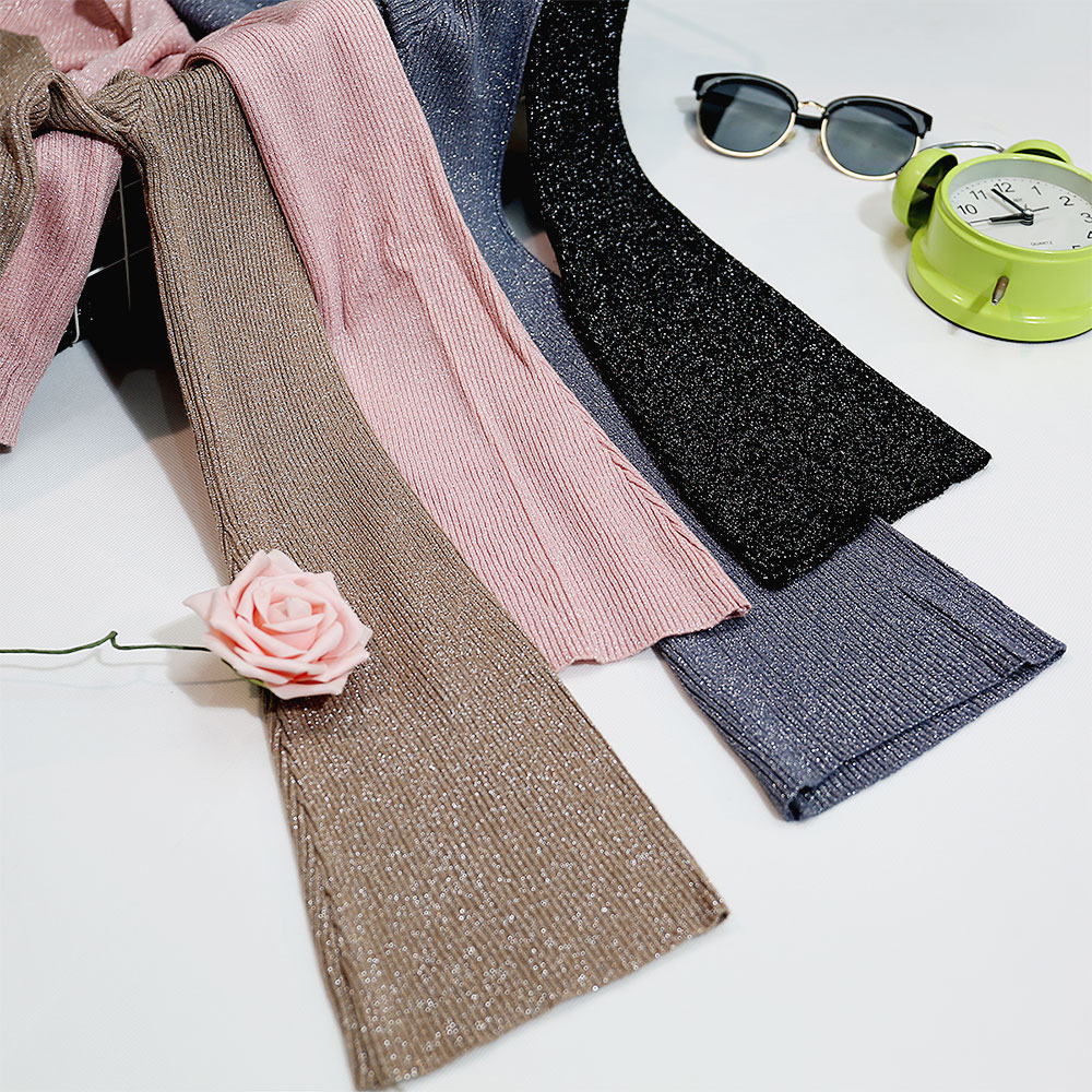 韩版新款秋冬2017喇叭一字领亮丝打底袖针织衫修身显瘦女装毛衣衫
