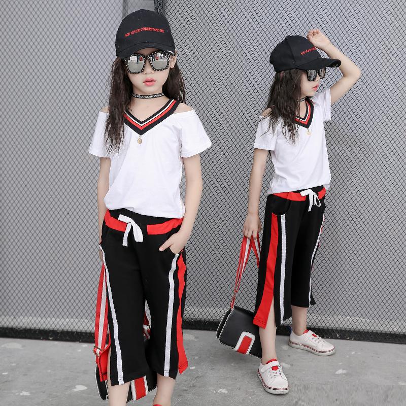童装2019新款12岁女童套装夏装韩版夏季儿童短袖中大童运动两件套