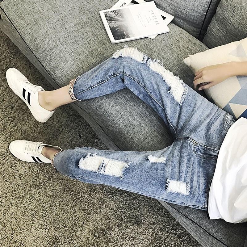 2018九分牛仔裤韩版修身9分裤潮男装哈伦小脚裤包邮夏季破洞男展