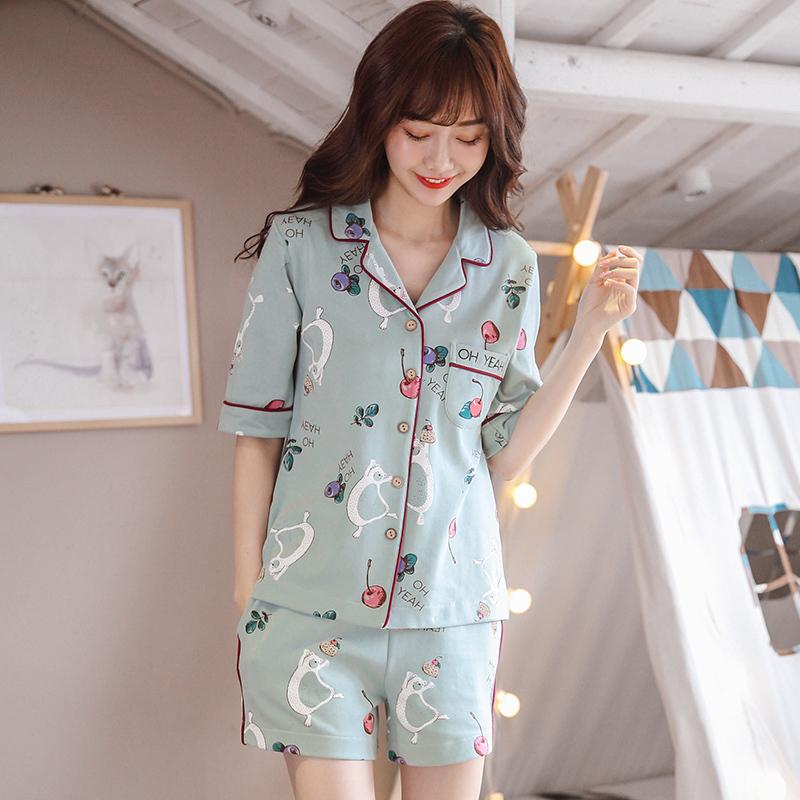 丁菲妮睡衣女夏套装短袖纯棉两件套优惠价10元销量117件