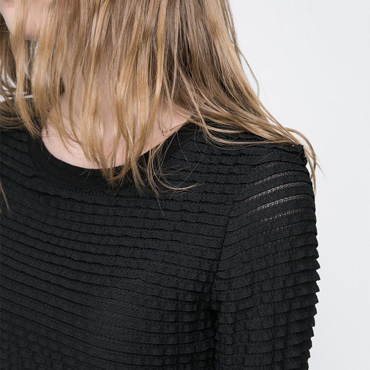 Chỉ nhiều lớp ren thiết kế bảy điểm tay áo đan đáy t-shirt nữ-116330545