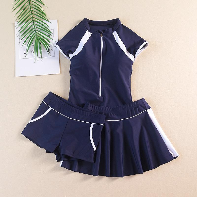 Đồ bơi trẻ em lớn cho bé gái học sinh trung học nữ Đồ bơi chia đôi bảo thủ 3 mảnh ngắn tay áo tắm kiểu váy liền thân - Bộ đồ bơi của Kid