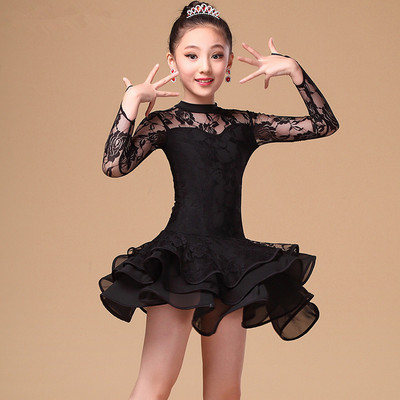 Children's Latin Dance Costume performance clothing long sleeve training clothing competition test grade clothing girl's Latin dance skirt