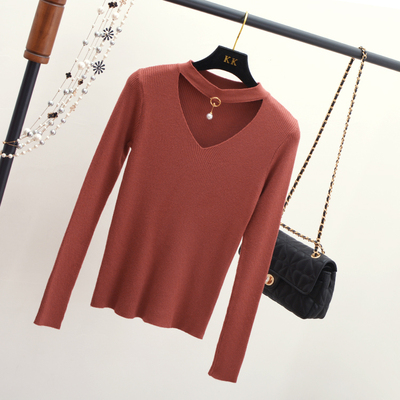 Korean version of the new autumn and winter women's wild bottoming shirt Slim long-sleeved sweater women's hood V neck sweater