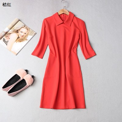 210123 Ming Wei Women's 2017 winter lapel zippered one-piece sleeve solid color dress