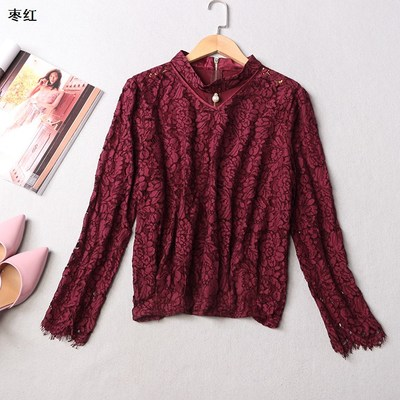 107672 Ming Wei Women's 2017 autumn V-neck zip long-sleeved lace clothing