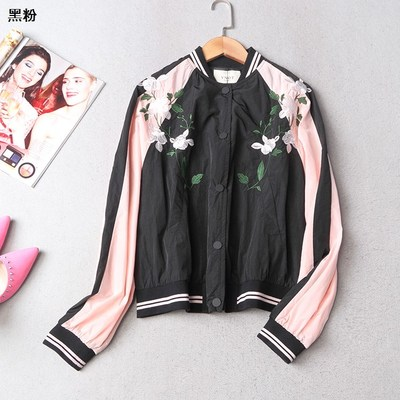 108810 Ming Wei Women's 2017 autumn collar dark buckle long-sleeved embroidery splicing color coat