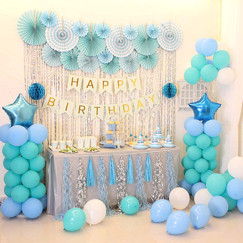 Color Classification Blue Dessert Table Decoration Package Background Wall Luxury 1 Year Old
