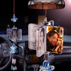 Car pendant car interior pendant men and women high-end creative rear-view mirror security crystal ornaments customized photos