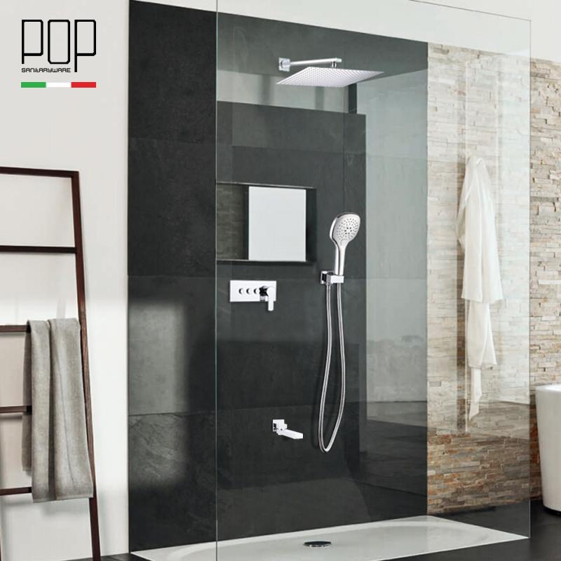 POP衛浴 天幕式暗裝入墻式淋浴花灑冷熱淋浴花灑套裝水龍頭