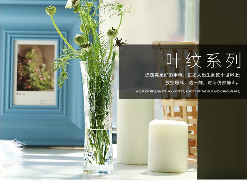意大利进口水晶玻璃花瓶富贵竹现代时尚简约百合花器摆件详细照片