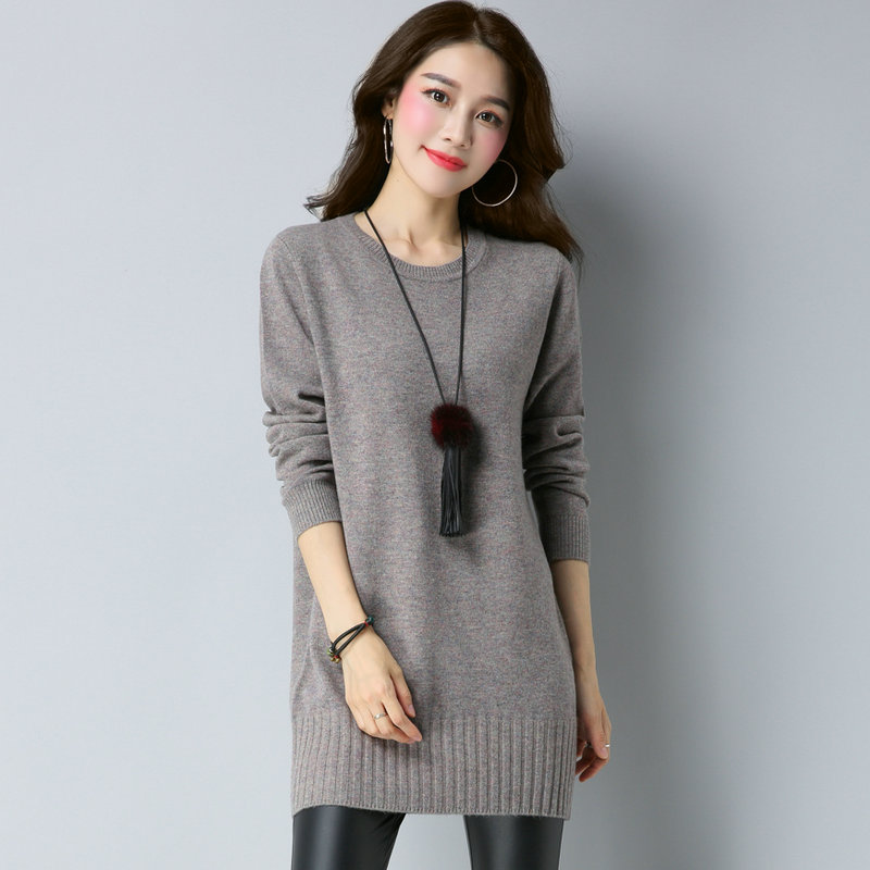 全毛衣羊毛女套头中款针织女式女款上衣衫打底包臀秋冬羊毛衫长袖