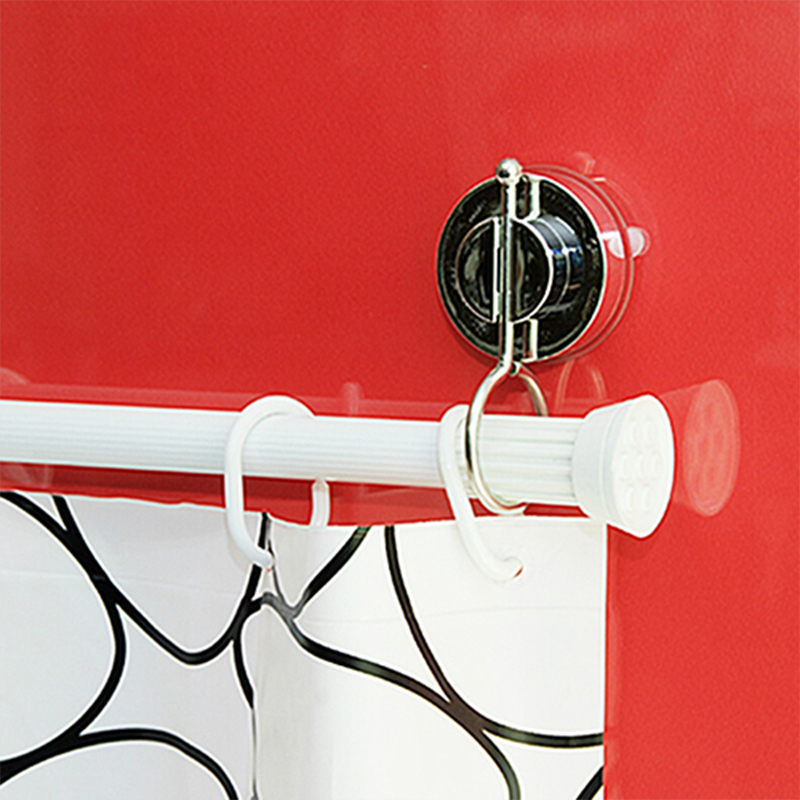 USD 18.43] deHub vacuum suction Cup shower curtain rod hanging ring ...