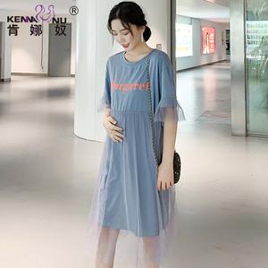 孕妇连衣裙夏季2021新款纱裙时尚夏天潮妈A字版孕妇裙子宽松夏装