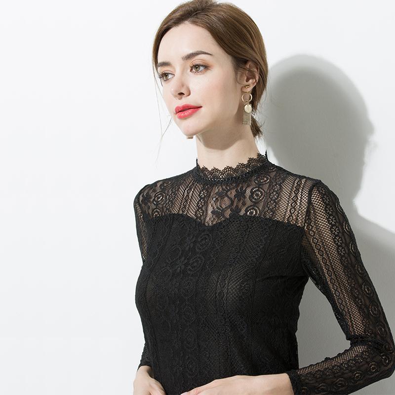 【专柜同款】2021新款蕾丝打底衫女长袖