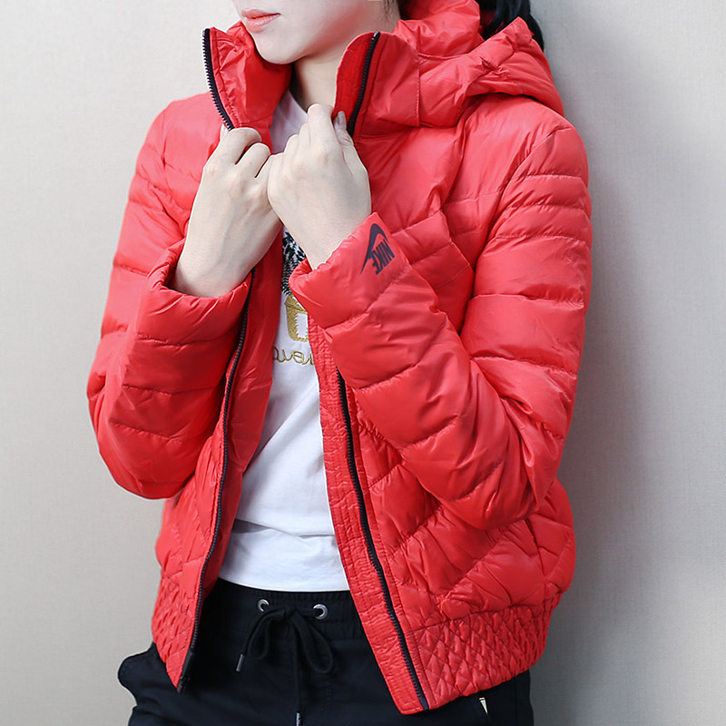 Poly Nike sports down jacket women s winter hooded large size thin thin  breathable red jacket 541411-660 2269fdb13