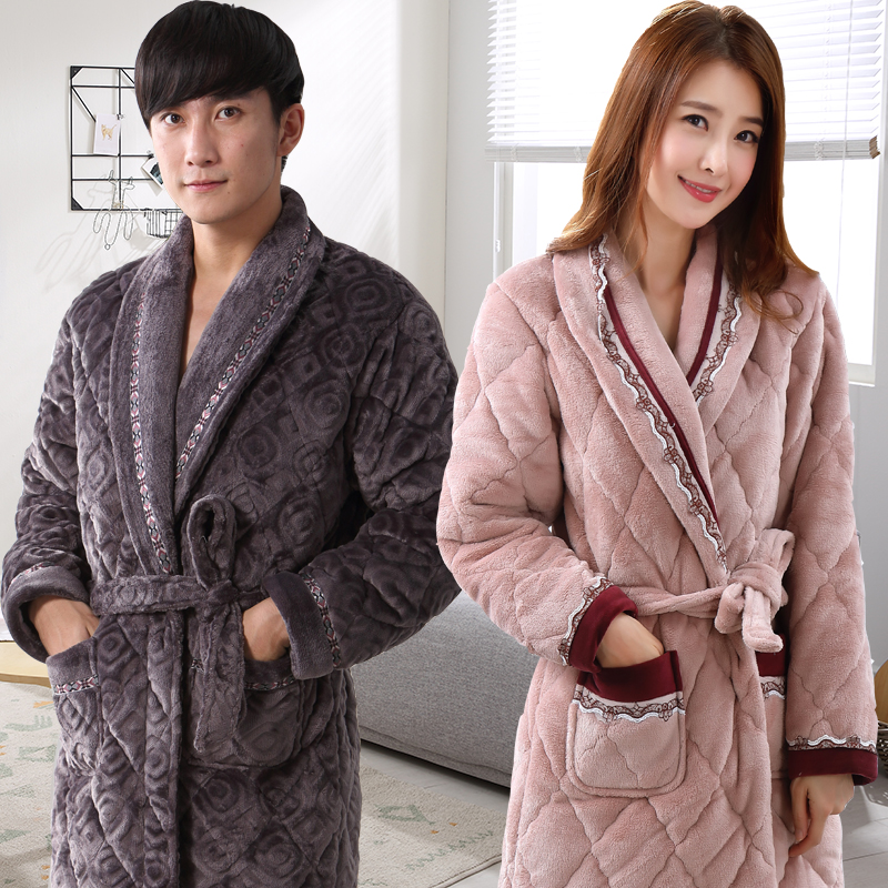 Nightgown female Winter thickening long men s pajamas plus fertilizer to  increase the size of the elderly 0a4a60613c47