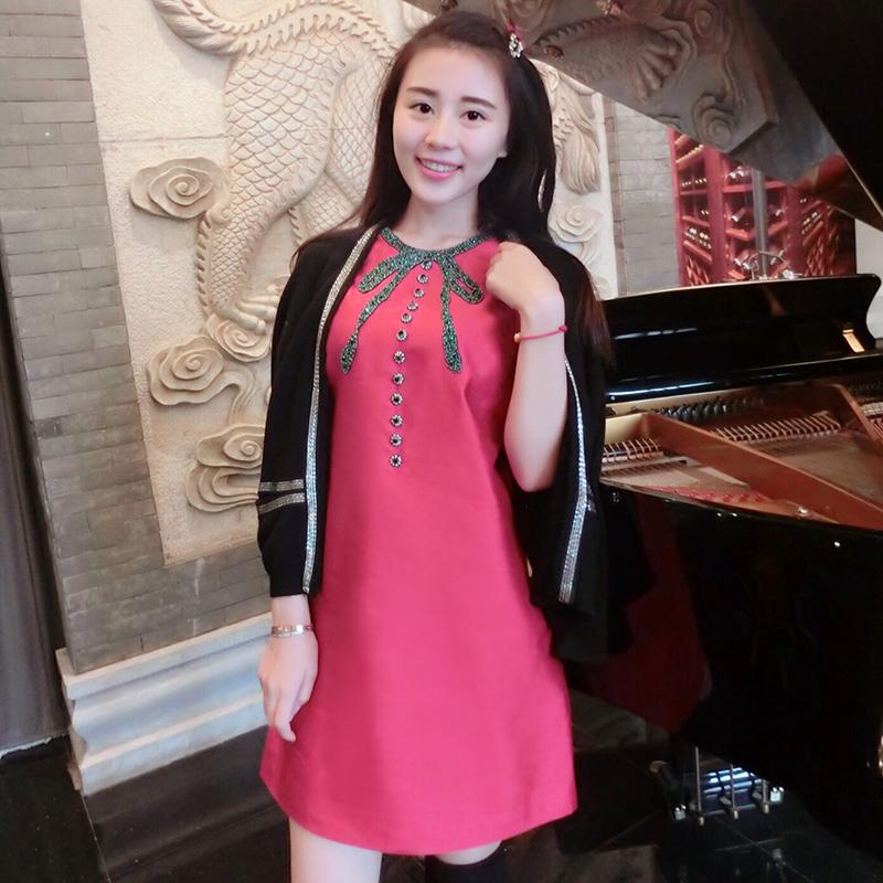 高级定制2016夏季新款小香风A字蓬蓬连衣裙 宽松女装圆领娃娃裙