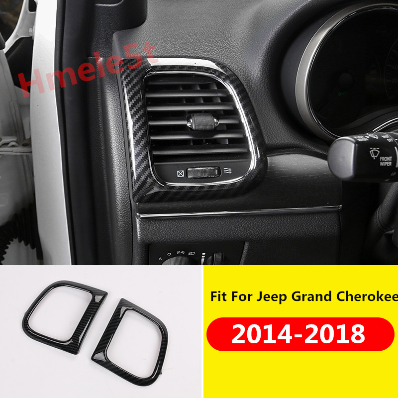 Carbon Fiber Side Air Vent Outlet Cover Trim For Jeep Grand Cherokee 2014-2018