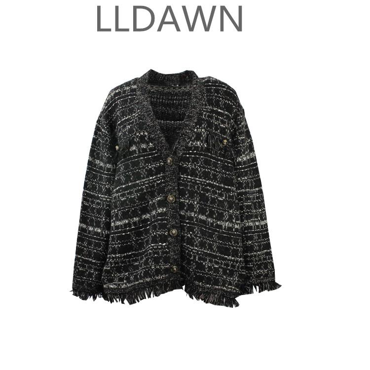 一地素秋冬新款潮流小香风针织衫流苏宽松毛衣开衫外套女3G4E505