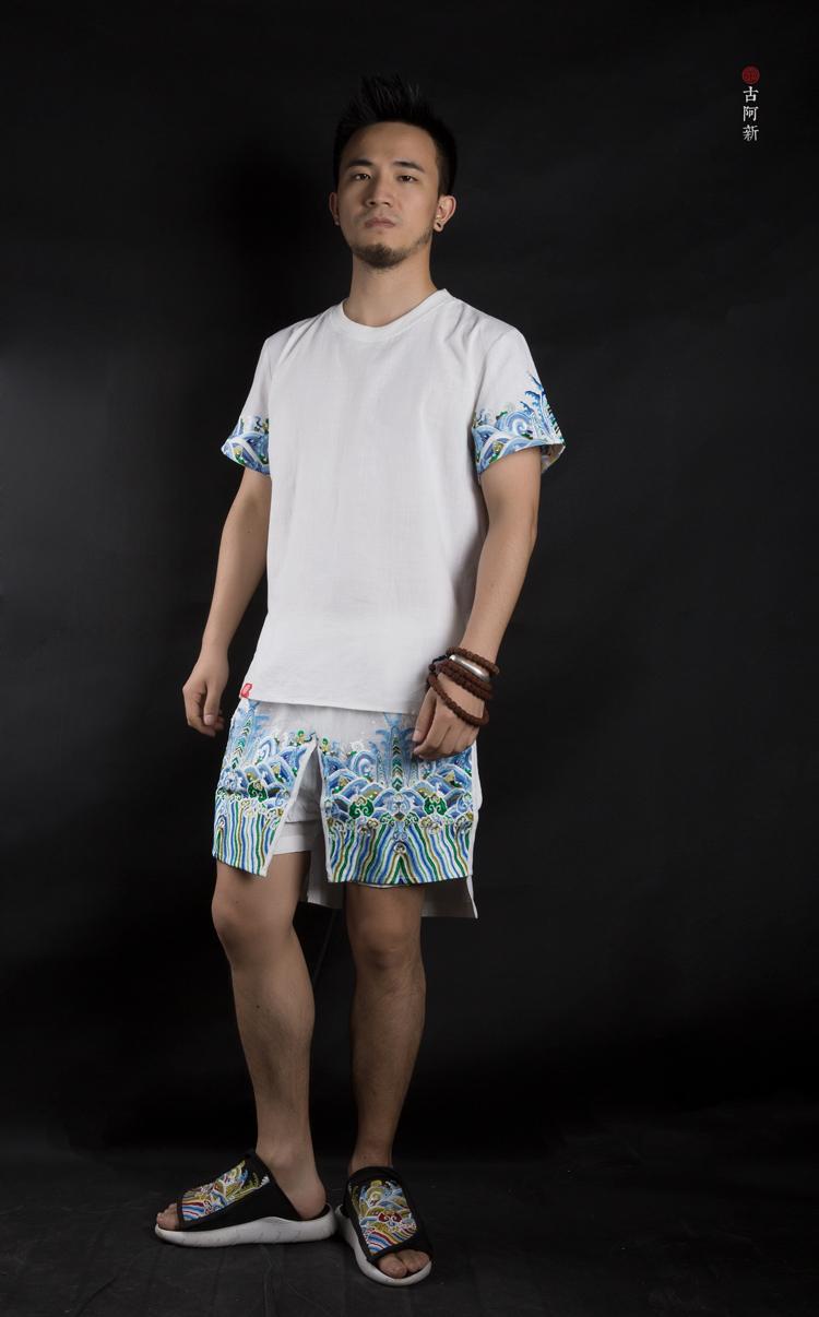 [古 阿 新] Trung Quốc phong cách thêu Trung Quốc bông và vải lanh khóa trắng mùa hè băng thêu gió quốc gia quần short