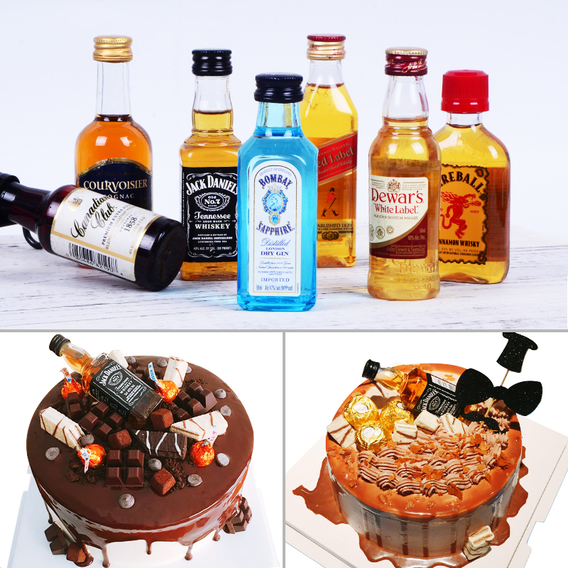 Birthday Cake Decorations Ornaments Wine With Whiskey Sapphire Decoration Bottle Jack Daniel 50ml
