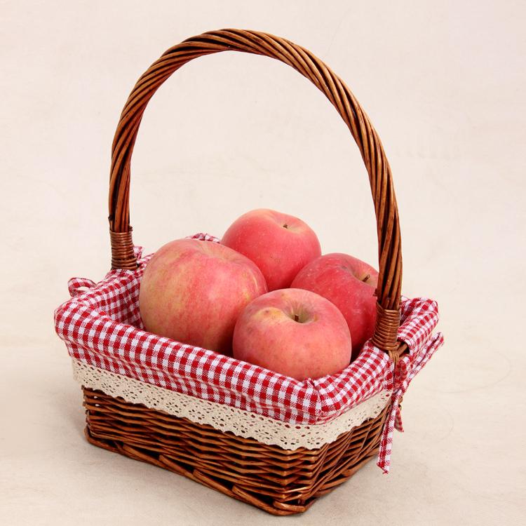 新款水果篮时尚礼品篮柳编v手工筐手工包装盒食品编织储物篮