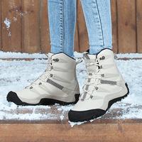 Зима угги женщина замшевый удерживающий тепло Наружная обувь водонепроницаемый нескользящие для влюбленной пары Северо-восточный туризм ботинки с утеплением Горные лыжные ботинки мужской