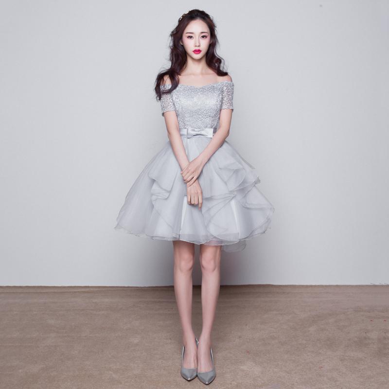 Bridesmaid dress short paragraph shoulder Korean version of the ...