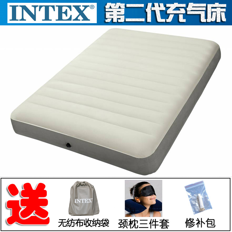 Genuine INTEX inflatable bed 2 generation single inflatable mattress double line pull inflatable mat bed camping tent bed thickened