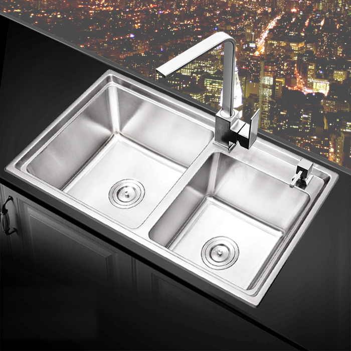 USD 158.25] Kitchen sink dual slot package handmade sink SUS304 ...