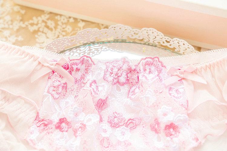 小仙女内衣文胸日系甜美奶糖少女可爱粉色蕾丝套装法式派超仙刺绣详细照片