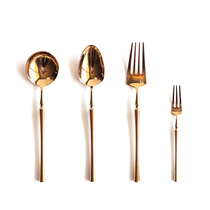 Small waist retro rose gold 304 Western dessert knife and fork spoon set