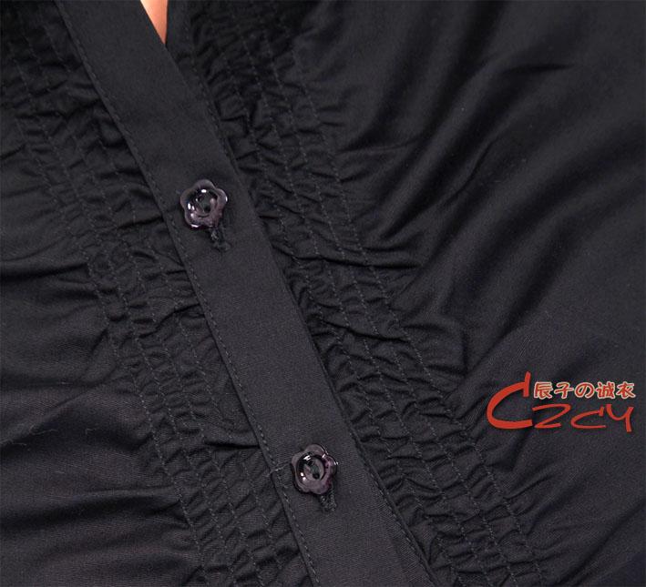 женская рубашка Фиолетовый синий розовый новый летний лацкан плиссированные леди Джокер рубашка с короткими рукавами,рубашки два цвета на черный и белый