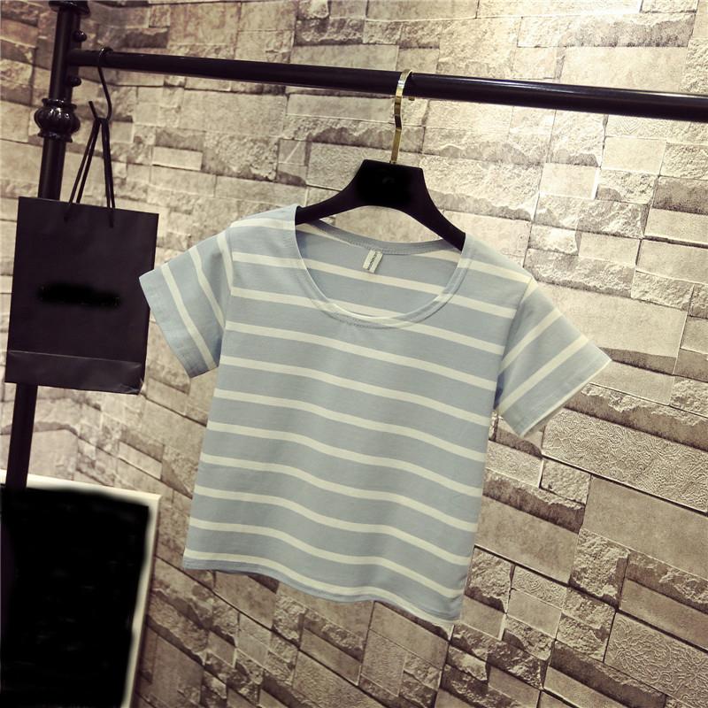 纯棉女装夏季露脐短袖t恤修身条纹高腰显瘦打底衫女上衣短款体恤