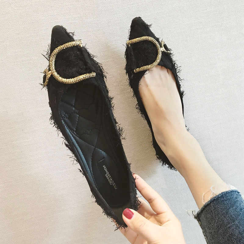 cc97e4e5bdc16 Pointed single shoes flat bottom scoop shoes soft flat with net Red women s  shoes shallow mouth