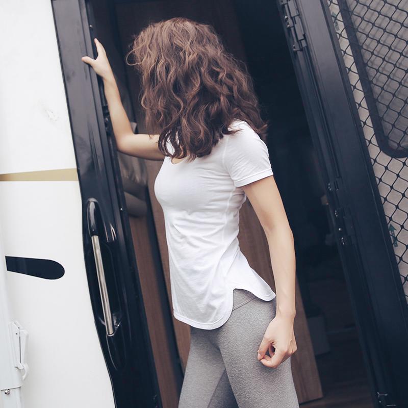 Сильный идти из лори быстросохнущие фитнес одежда короткий рукав женщина лето тонкий плотно движение бег йога куртка T футболки